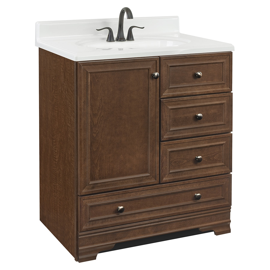 shop project source bark traditional bathroom vanity common 30 in x 22 in actual 30 in x 21. Black Bedroom Furniture Sets. Home Design Ideas