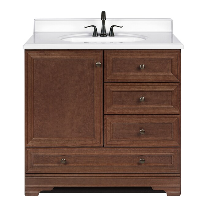 Project Source Bark Traditional Bathroom Vanity Common 36 In X 22 In Actual 36 In X 21 In In The Bathroom Vanities Without Tops Department At Lowes Com