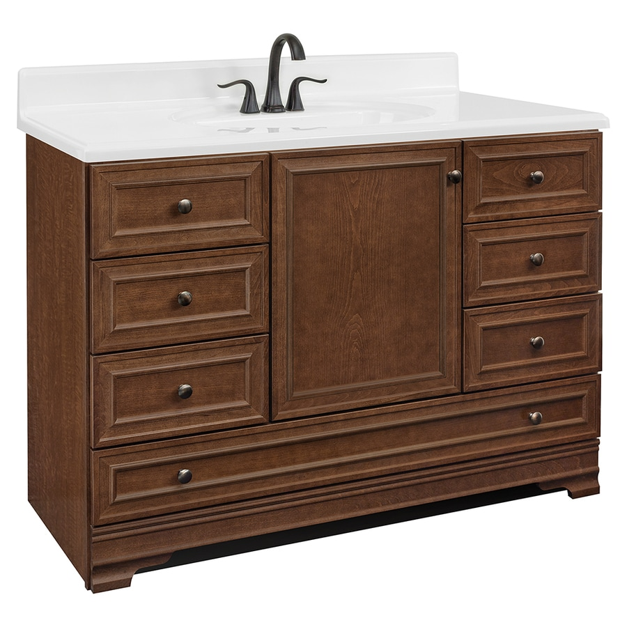 Shop Project Source Bark Traditional Bathroom Vanity Common In - Lowes 48 bathroom vanity