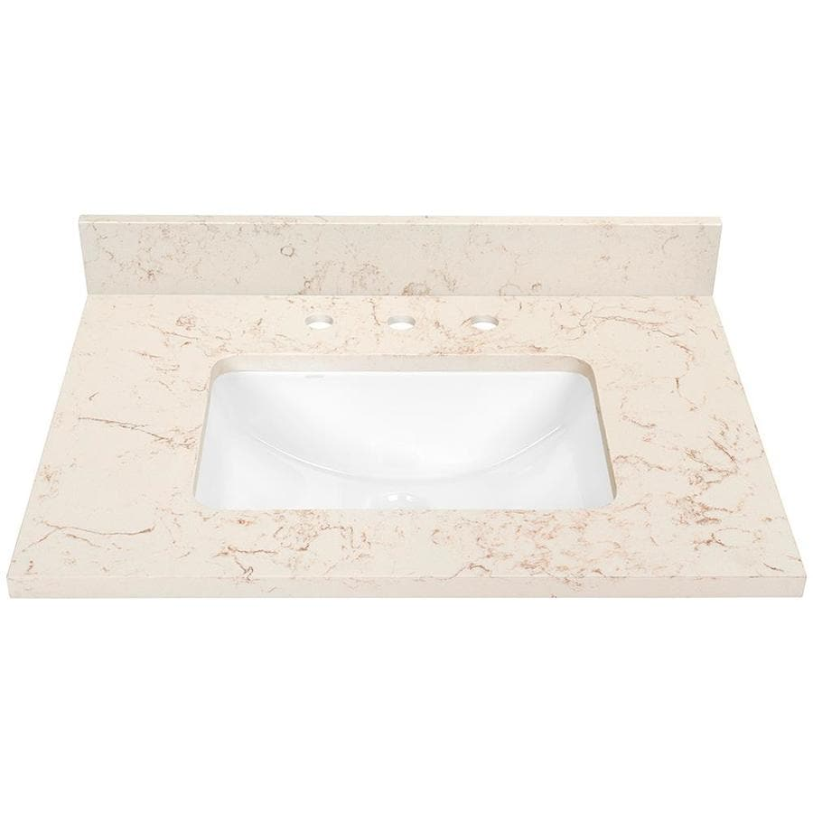 Shop marbled beige quartz undermount bathroom vanity top for Bathroom quartz vanity tops