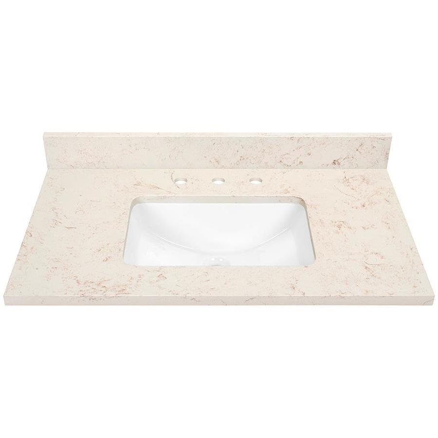 Marbled Beige Quartz Undermount Bathroom Vanity Top (Common: 37-in x 22-in; Actual: 37-in x 22-in)