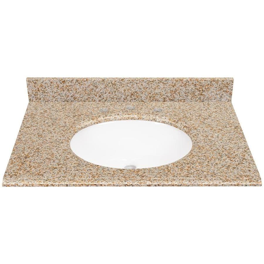 Desert Gold Granite Undermount Bathroom Vanity Top (Common: 31 In X 22