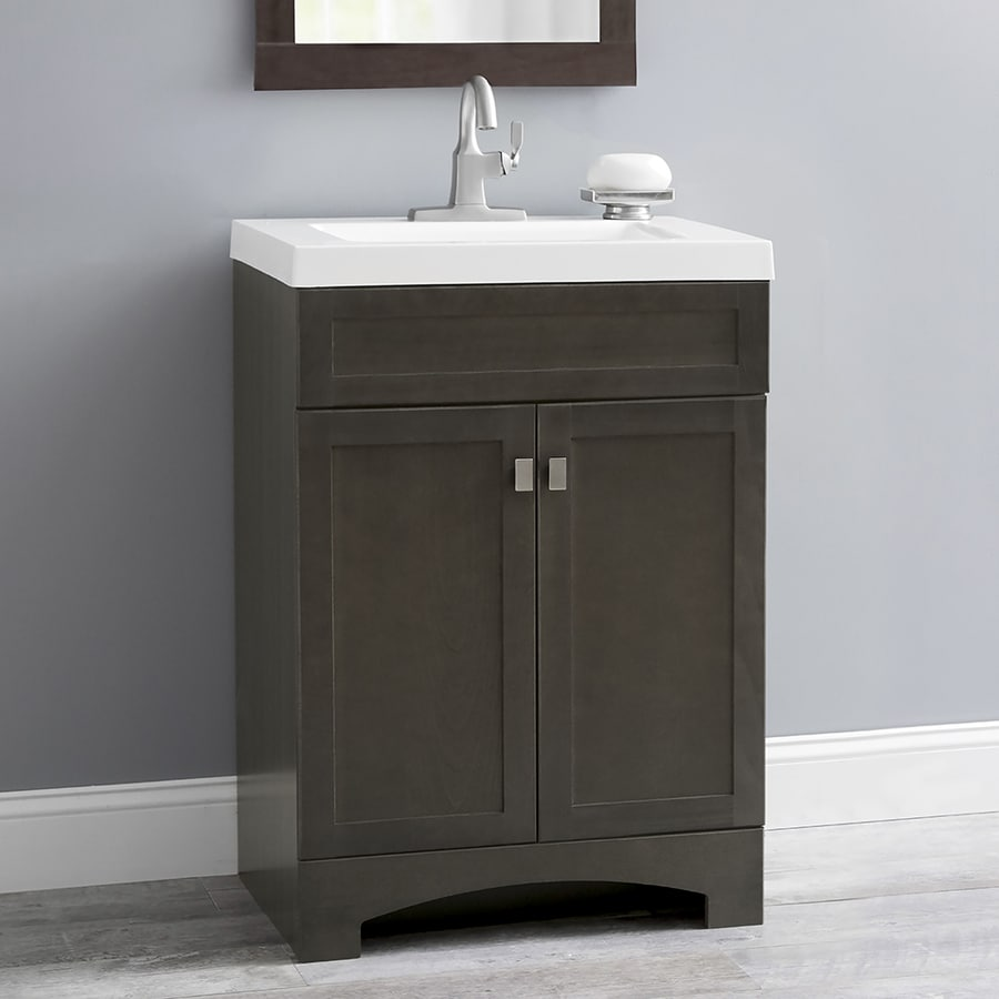 Shop Style Selections Drayden Gray Single Sink Vanity With White - 24 inch bathroom vanity gray