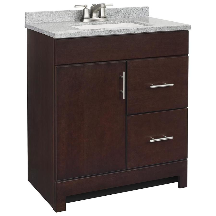 Style Selections Lagosta Java Integral Single Sink Bathroom Vanity With  Solid Surface Top (Common: