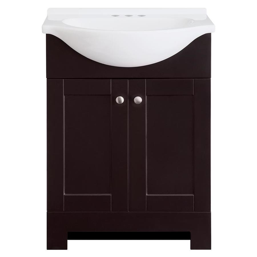 Shop kohler caxton biscuit undermount oval bathroom sink at lowes com - Style Selections Euro Espresso Integrated Single Sink Bathroom Vanity With Cultured Marble Top Common