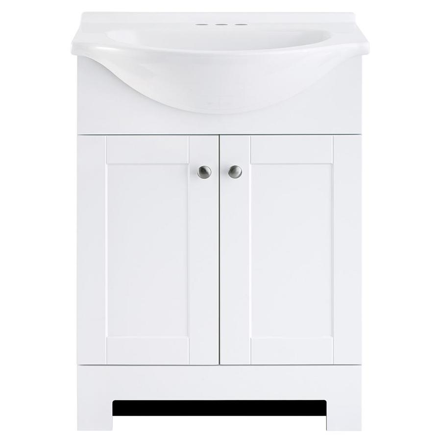 shop style selections euro white single sink vanity with white cultured marble top common 24