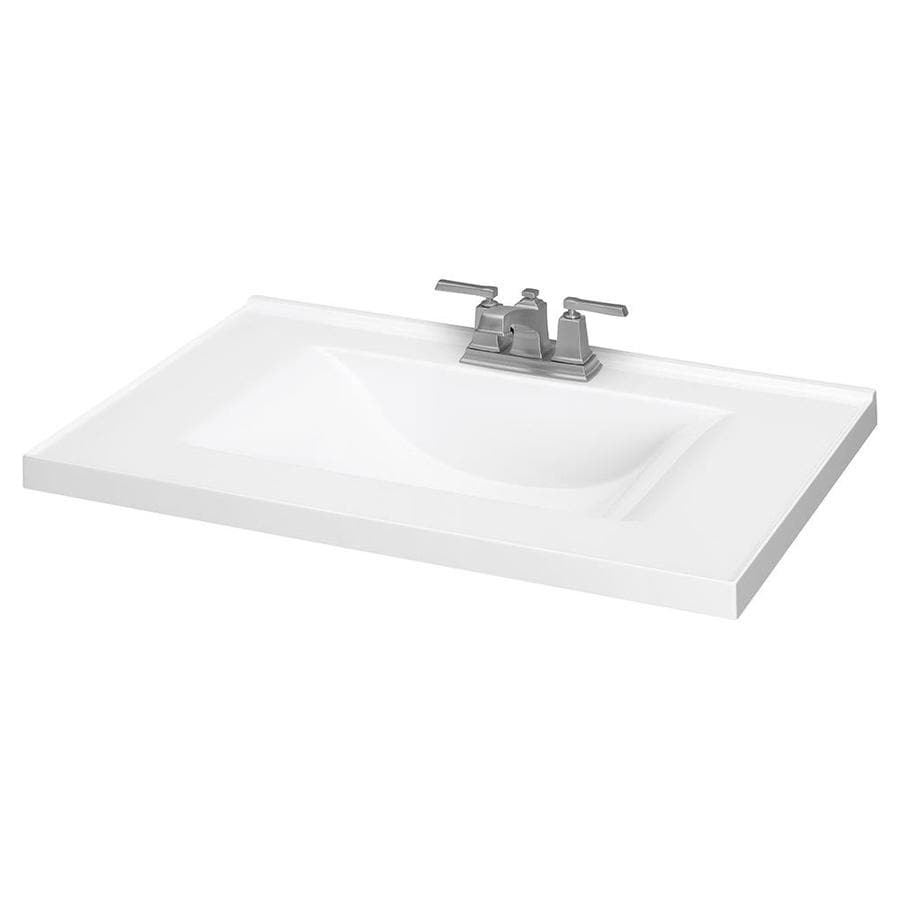 White Cultured Marble Integral Bathroom Vanity Top (Common: 31 In X 22