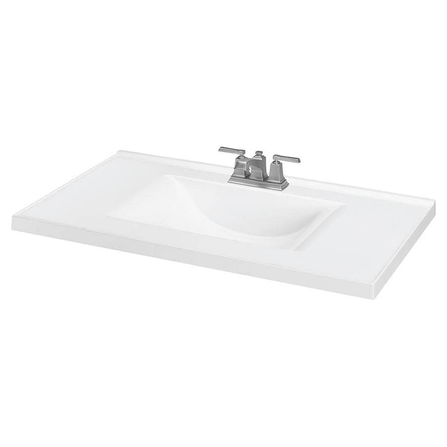 Sink top bathroom - White Cultured Marble Integral Bathroom Vanity Top Common 37 In X 22