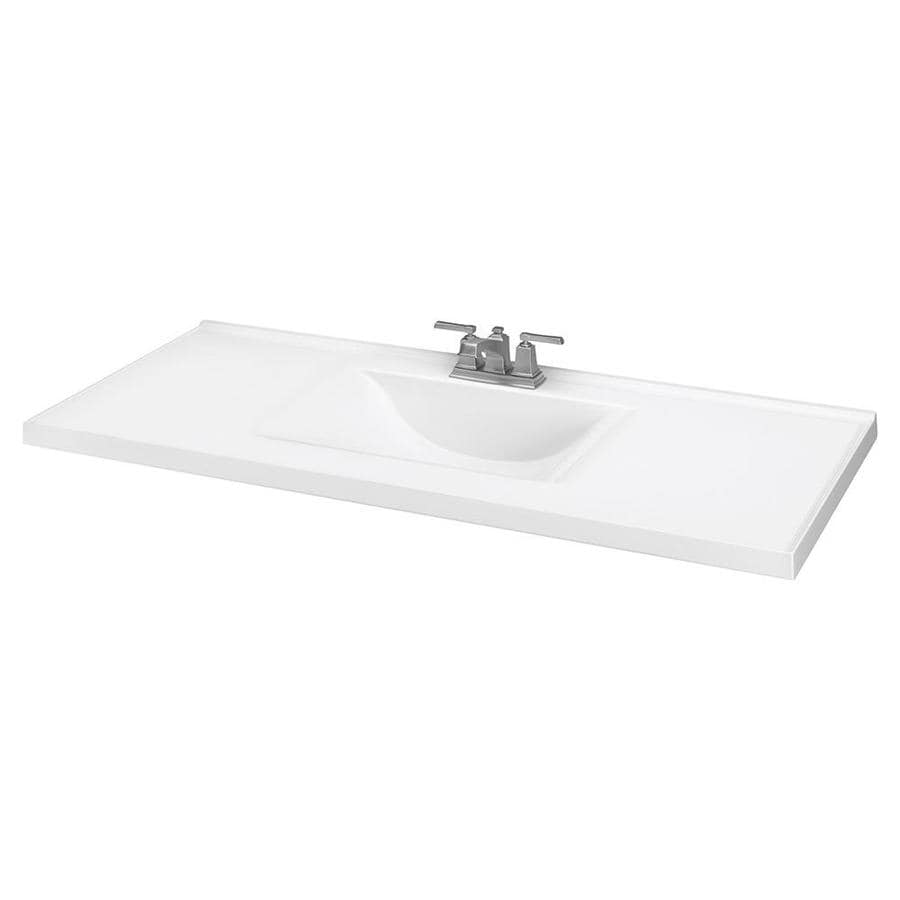 White Cultured Marble Integral Bathroom Vanity Top (Common: 49-in x 22-