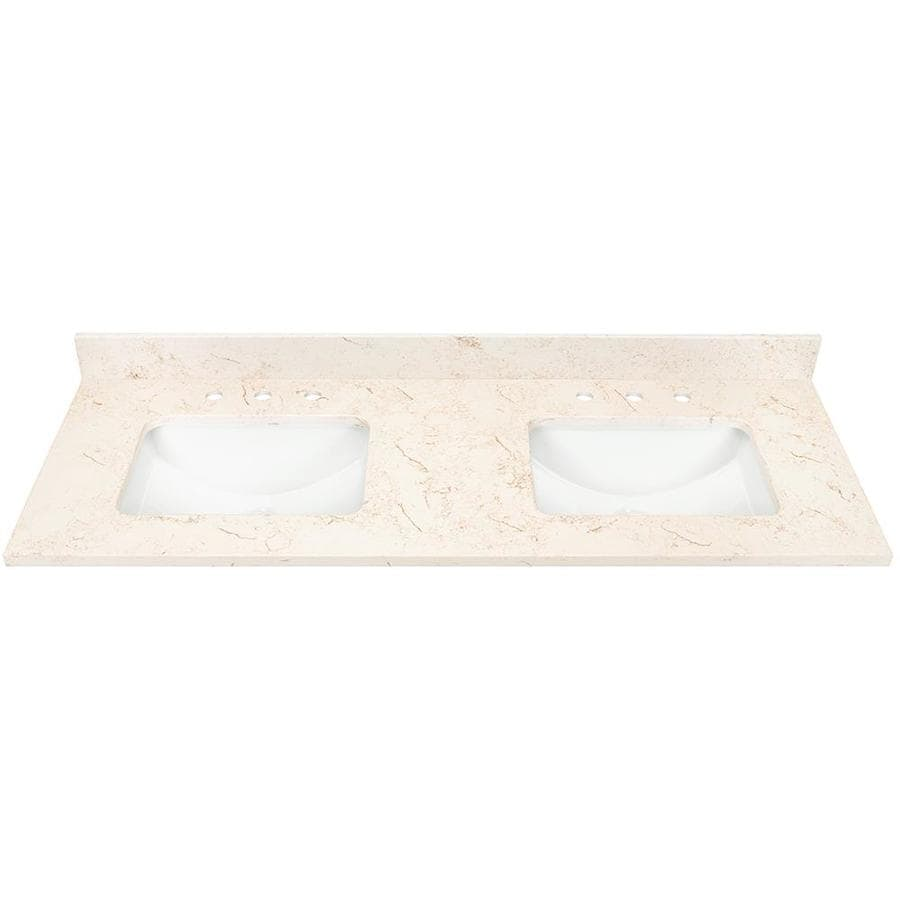 Marbled Beige Quartz Undermount Bathroom Vanity Top (Common: 61-in x 22-in; Actual: 61-in x 22-in)
