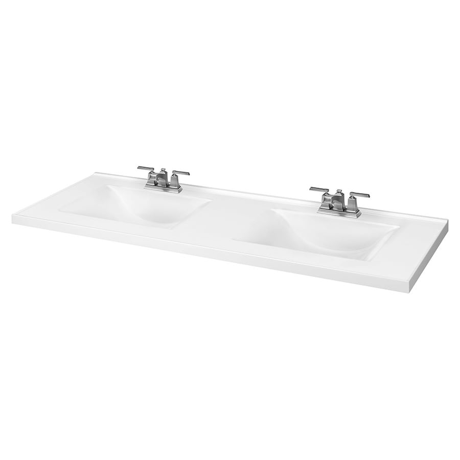 White Cultured Marble Integral Bathroom Vanity Top Common 61 In X 22