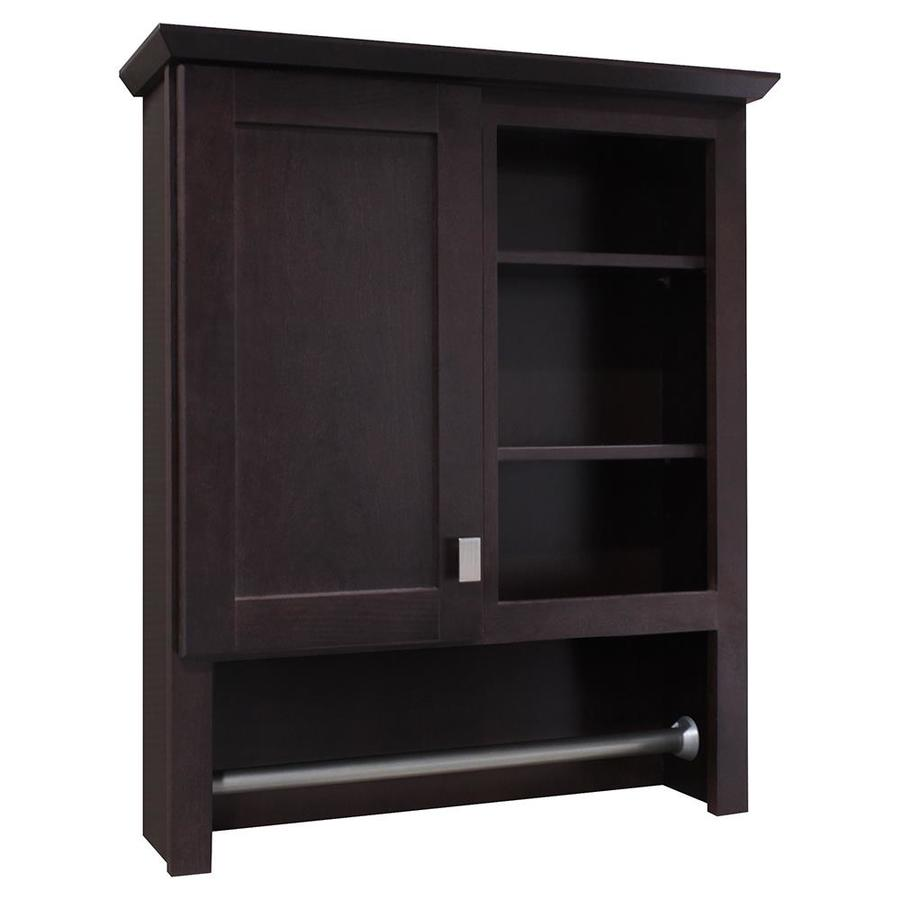 bathroom closets cabinets shop style selections 24 5 in w x 29 in h x 7 66 in d java 11433