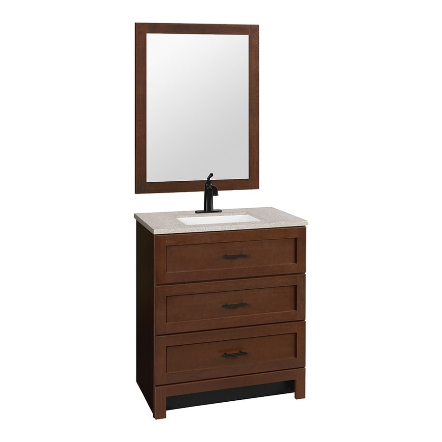 hammond bark integrated single sink bathroom vanity with solid surface top common 30 - Bathroom Cabinets At Lowes