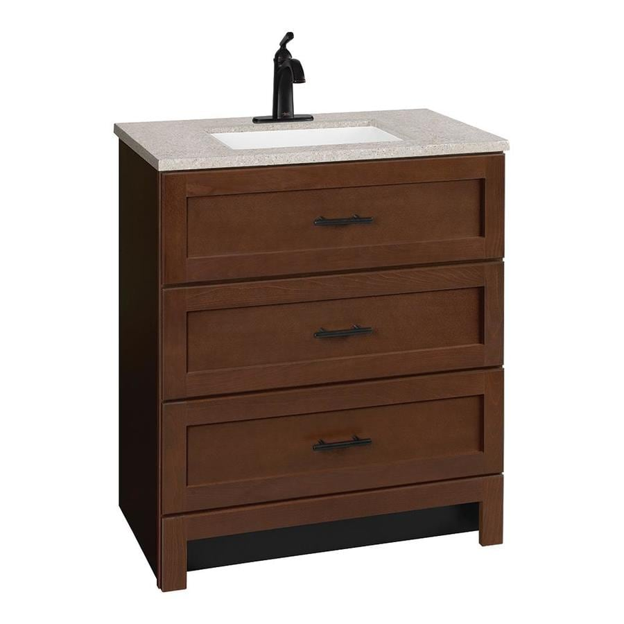 Style selections fenelton 36 5 in bark single sink - Lowes single sink bathroom vanity ...