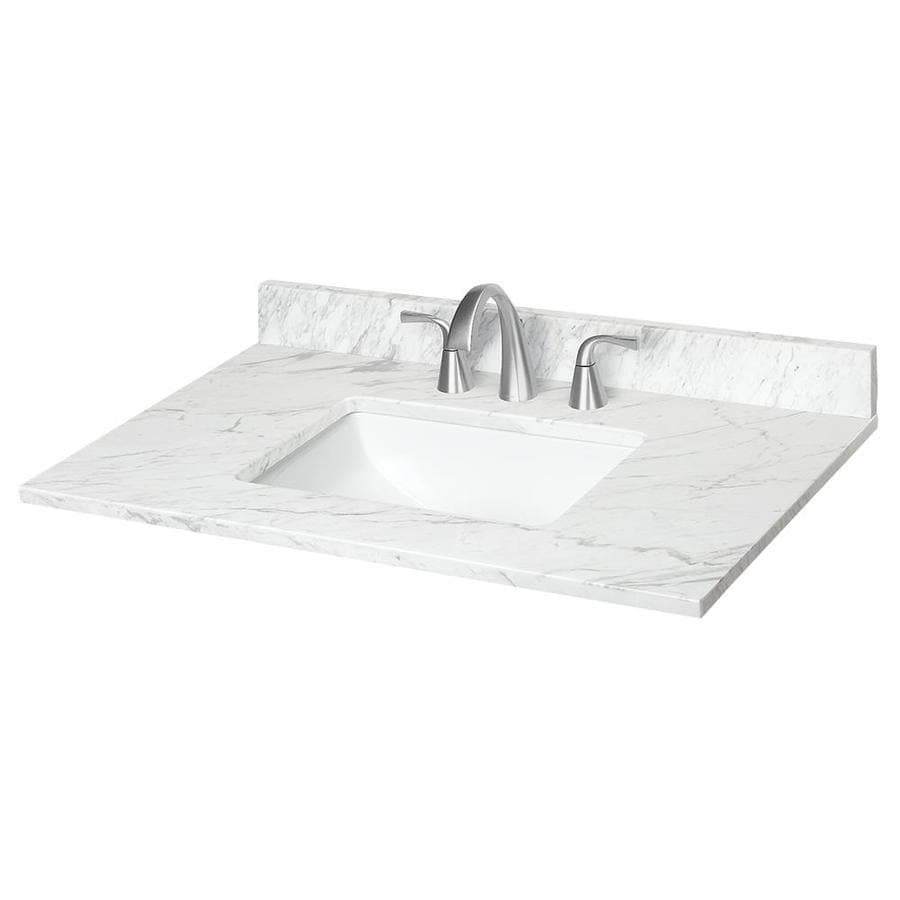 Shop ariston natural marble undermount bathroom vanity top for Bathroom vanity tops