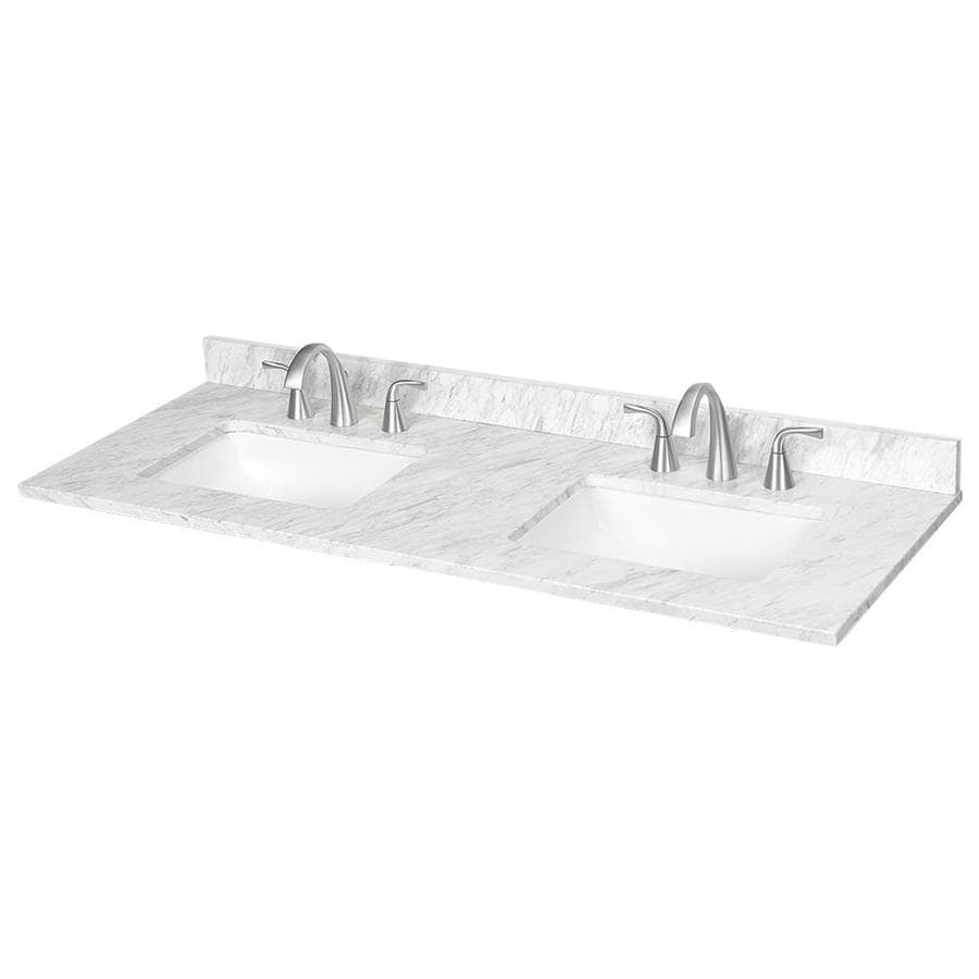 Ariston Natural Marble Undermount Bathroom Vanity Top (Common: 61 In X 22