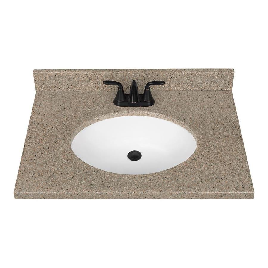 Shop nutmeg solid surface integral bathroom vanity top for Bathroom vanity tops
