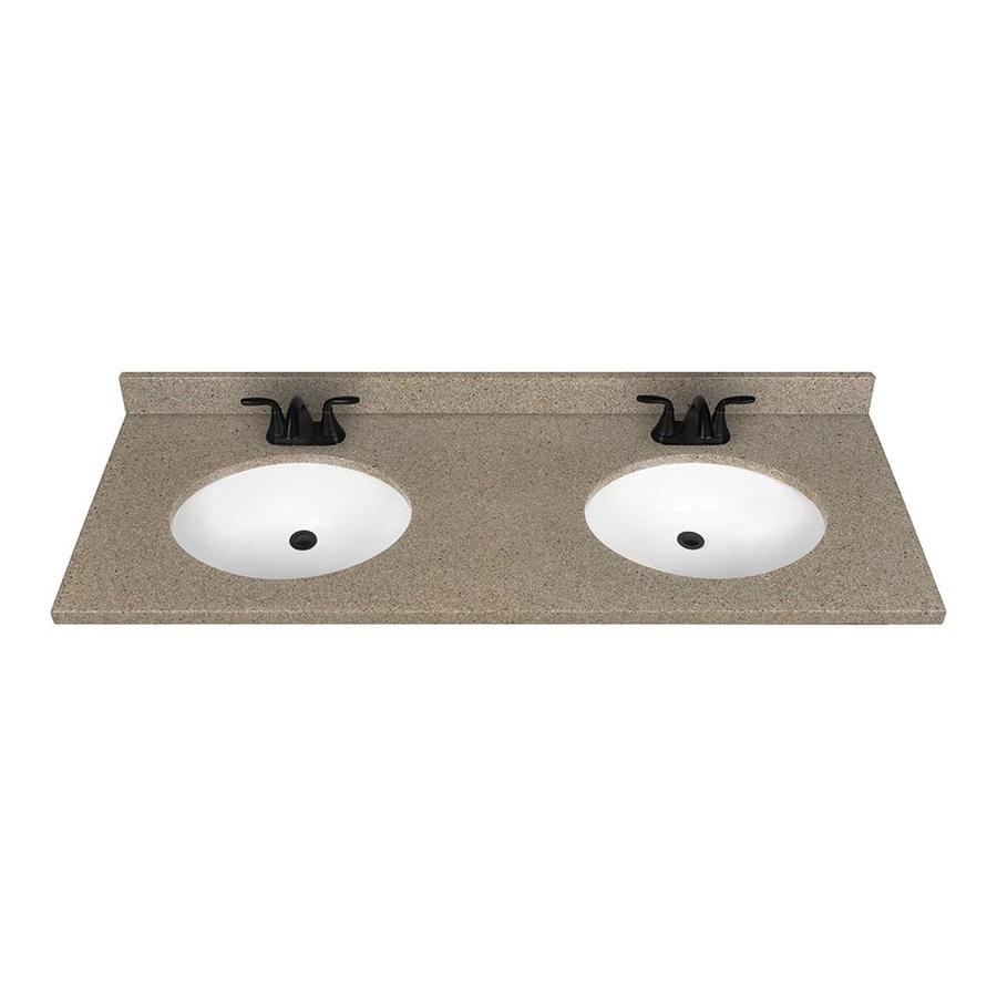 Solid Surface Bathroom Sink: Shop Nutmeg Solid Surface Integral Double Sink Bathroom