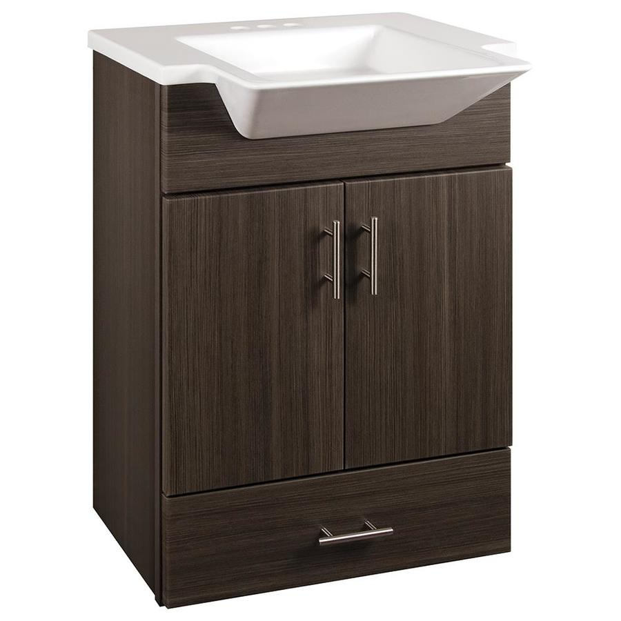 Style Selections Euro Gray Integrated Single Sink Bathroom Vanity With  Cultured Marble Top (Common: