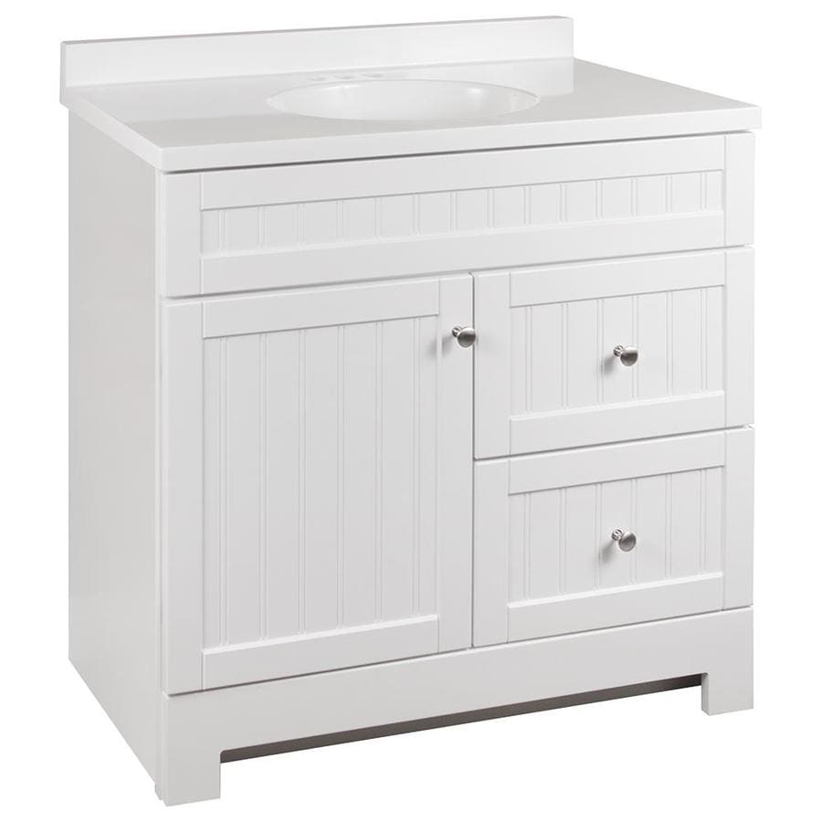 Style Selections Ellenbee 36 In White Single Sink Bathroom Vanity With White Cultured Marble Top In The Bathroom Vanities With Tops Department At Lowes Com