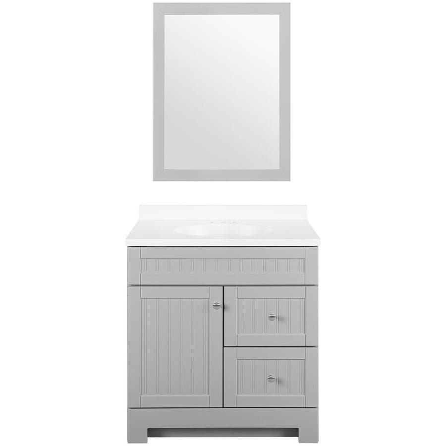 Style selections ellenbee 30 5 in gray single sink - Lowes single sink bathroom vanity ...