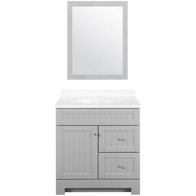 Style Selections Ellenbee 30 In Gray Single Sink Bathroom Vanity With White Cultured Marble Top Mirror Included In The Bathroom Vanities With Tops Department At Lowes Com