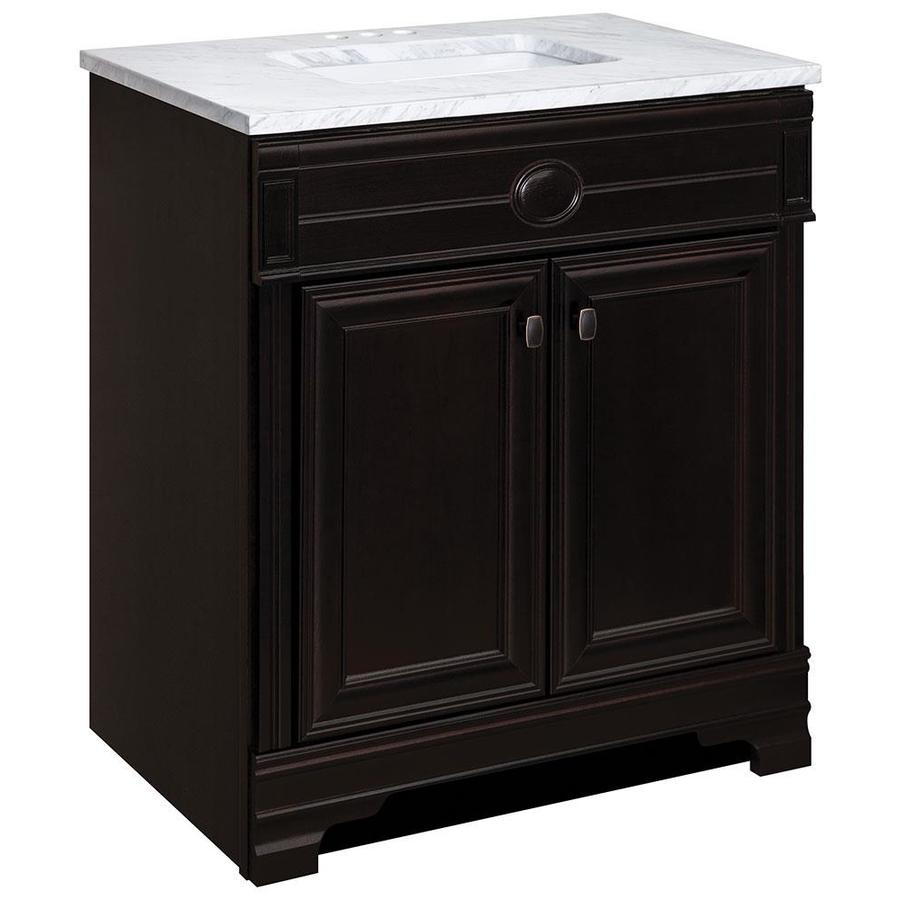 Style Selections Philmont Dark Russet Integral Single Sink Bathroom Vanity with Natural Marble Top (Common: 31-in x 19-in; Actual: 30.5-in x 18.75-in)