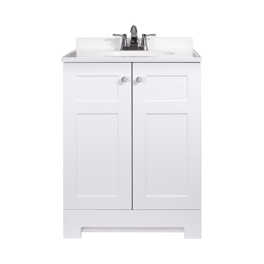 Style Selections 24 5 In White Single Sink Bathroom Vanity With White Cultured Marble Top At