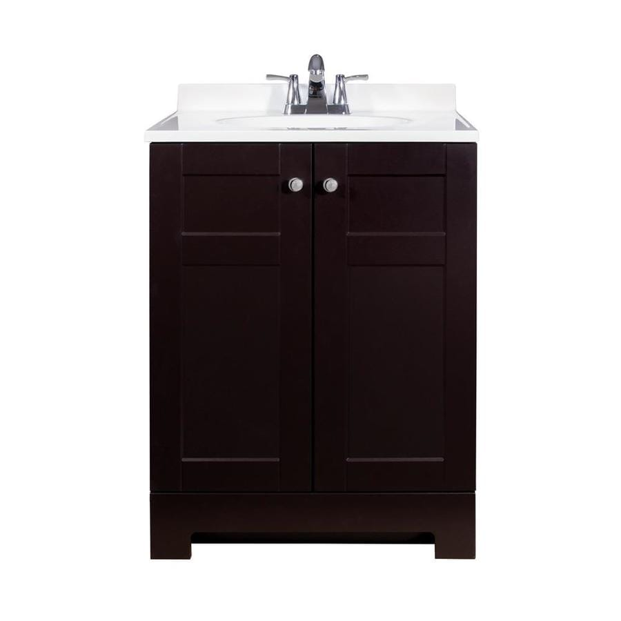 Style Selections Espresso Integral Single Sink Bathroom Vanity With Wood Top Common 25