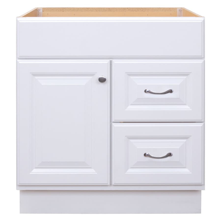 Project Source Floor Mount White 30-in x 21-in Traditional Bathroom Vanity
