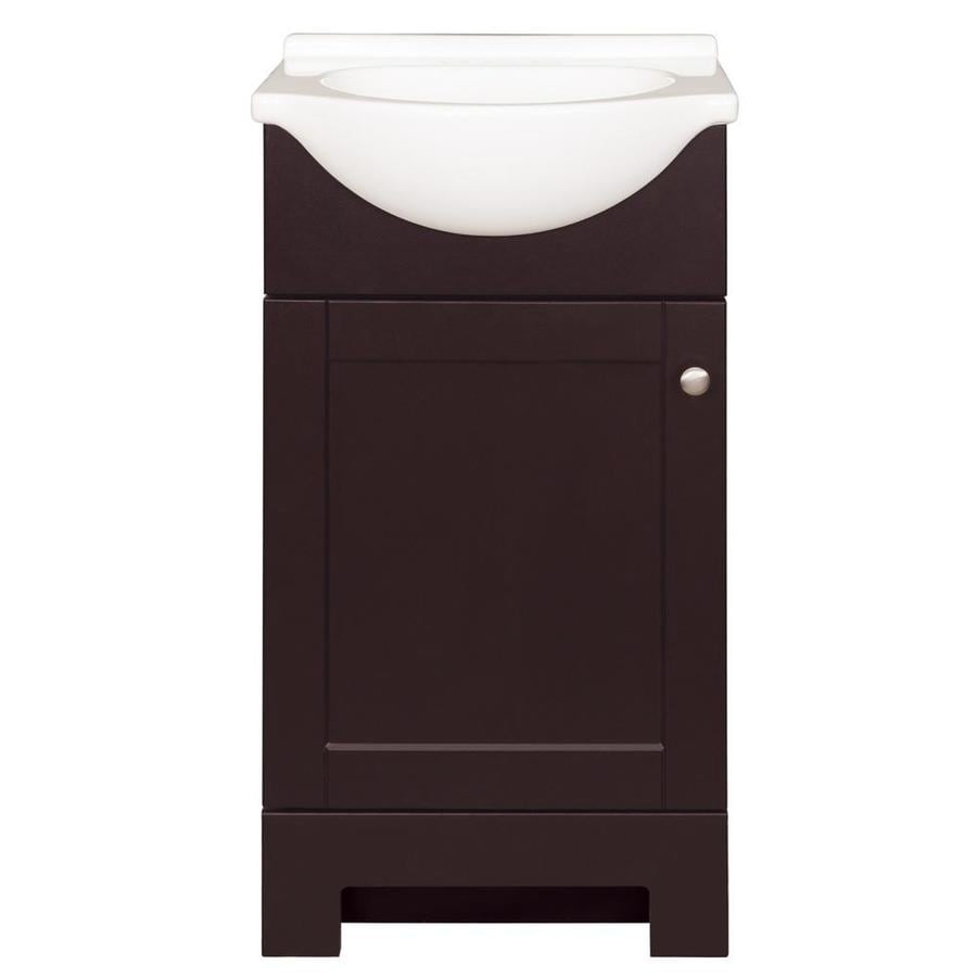 Style selections euro 19 in espresso single sink bathroom - White bathroom vanity with marble top ...