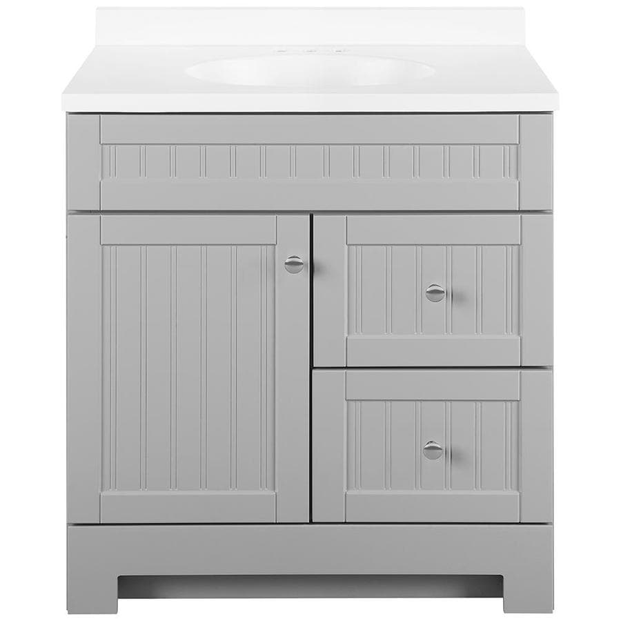 Shop Style Selections Ellenbee Gray Single Sink Vanity With White Cultured Marble Top Common
