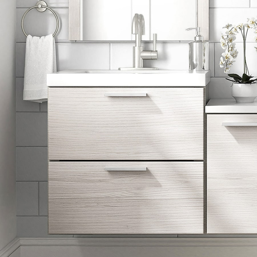 Style Selections Acadia 24 5 In White Single Sink Bathroom Vanity With Cultured Marble Top
