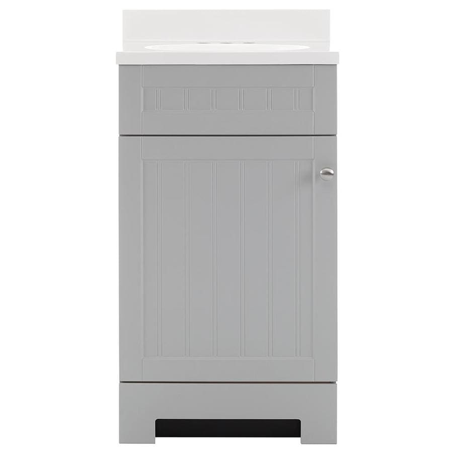 style selections ellenbee gray single sink vanity with white rh lowes com