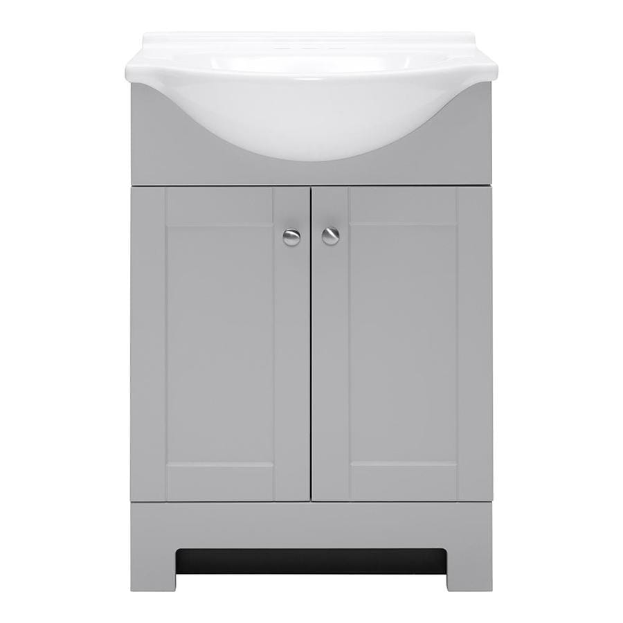 Style Selections Euro 25-in Gray Single Sink Bathroom Vanity with White Cultured Marble Top