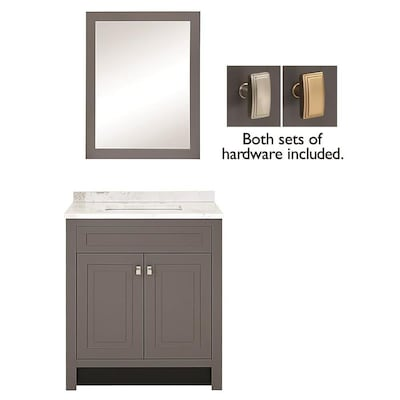 30 5 In Slate Single Sink Bathroom Vanity With White Arabeo Natural Marble Top And Mirror