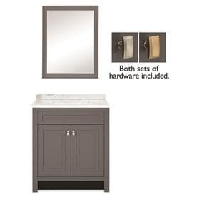 Style Selections 30 5 In Slate Single Sink Bathroom Vanity With White Arabeo Natural Marble Top