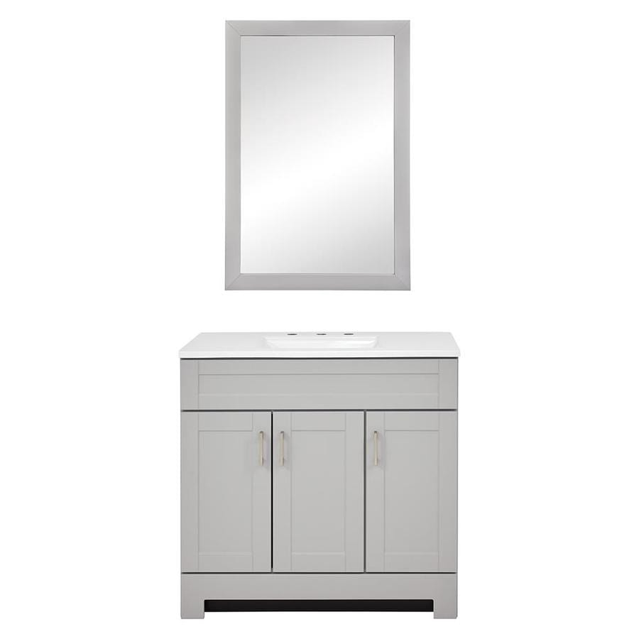Style Selections Gladmere 36.5-in Dove Gray Single Sink Bathroom Vanity with White Cultured Marble Top and Mirror