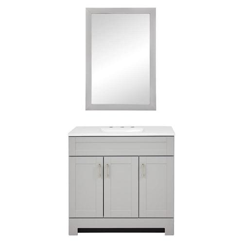 Style Selections Gladmere 36 5 In Dove Gray Single Sink