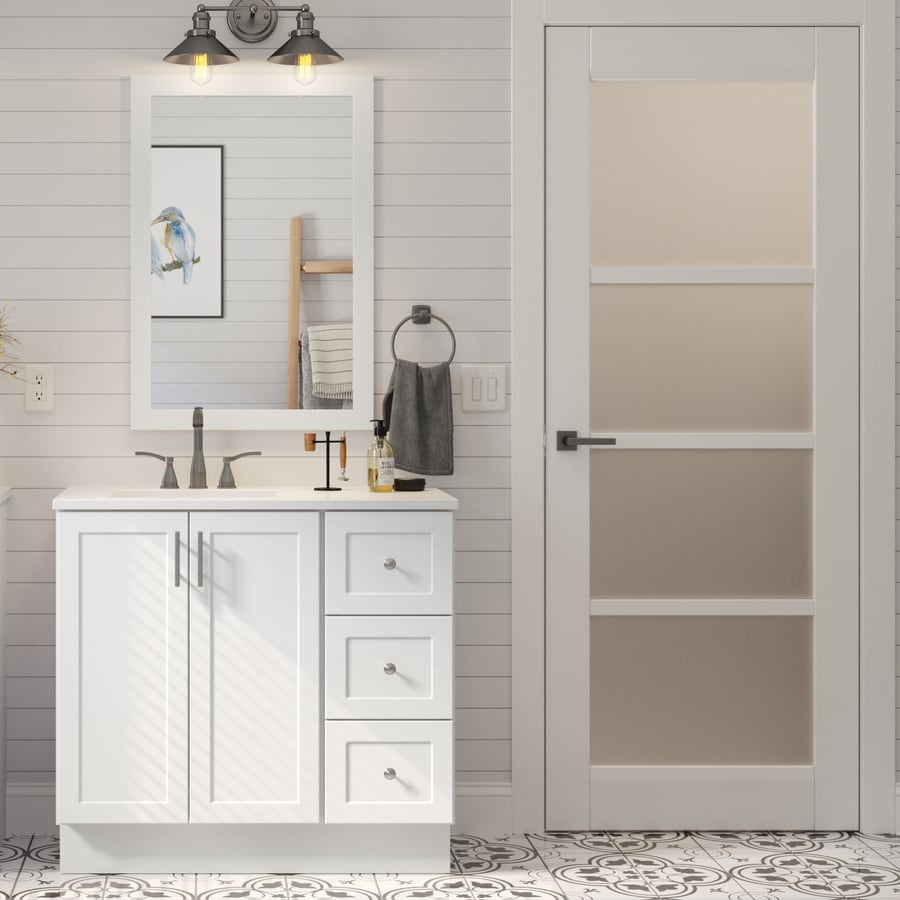 Style Selections 36 In White Single Sink Bathroom Vanity With White Cultured Marble Top Mirror Included In The Bathroom Vanities With Tops Department At Lowes Com