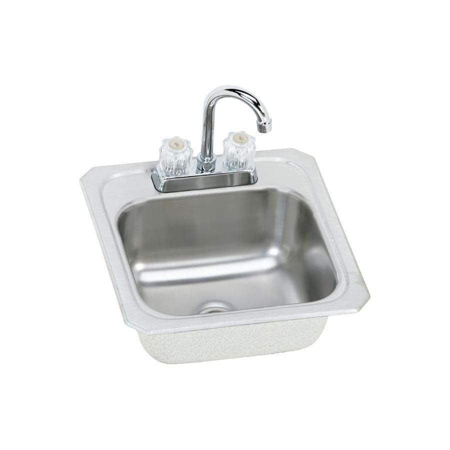 Elkay Gourmet Brushed Satin 2-Hole Stainless Steel Drop-in Residential Bar Sink