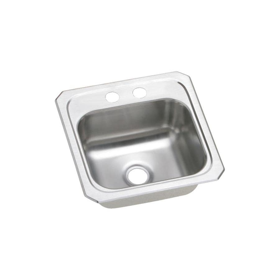 Elkay Gourmet Brushed Satin 2-Hole Stainless Steel Drop-in Residential Bar Sink