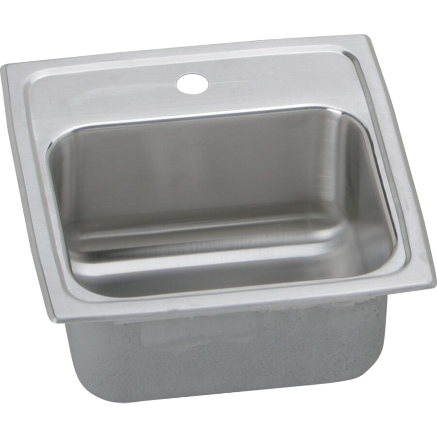 Elkay Gourmet Lustrous Highlighted Satin 1-Hole Stainless Steel Drop-in Residential Bar Sink