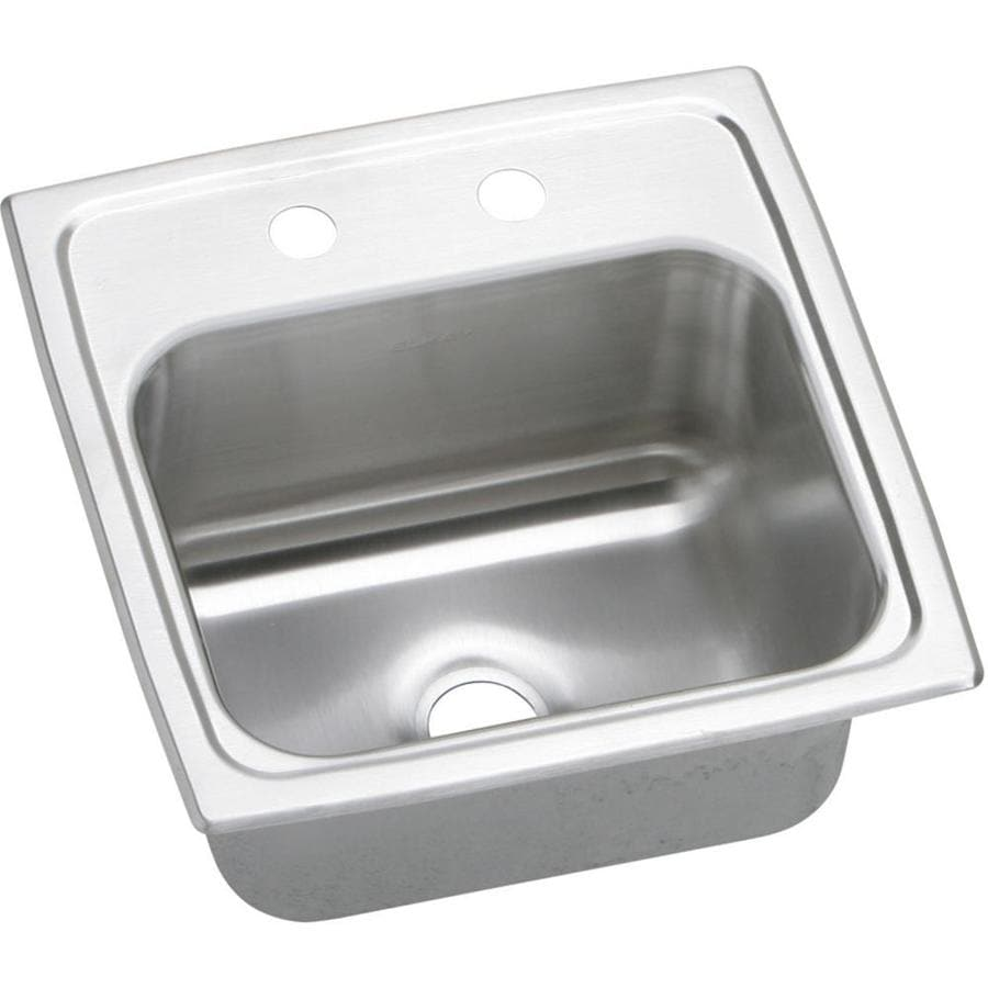 Elkay Gourmet Brilliant Satin 2-Hole Stainless Steel Drop-in Residential Bar Sink