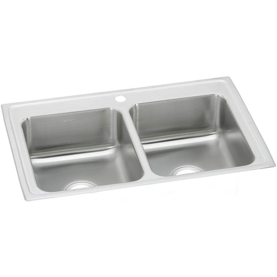 Elkay 17-in x 23-in Stainless Double-Basin Drop-In Kitchen Sink