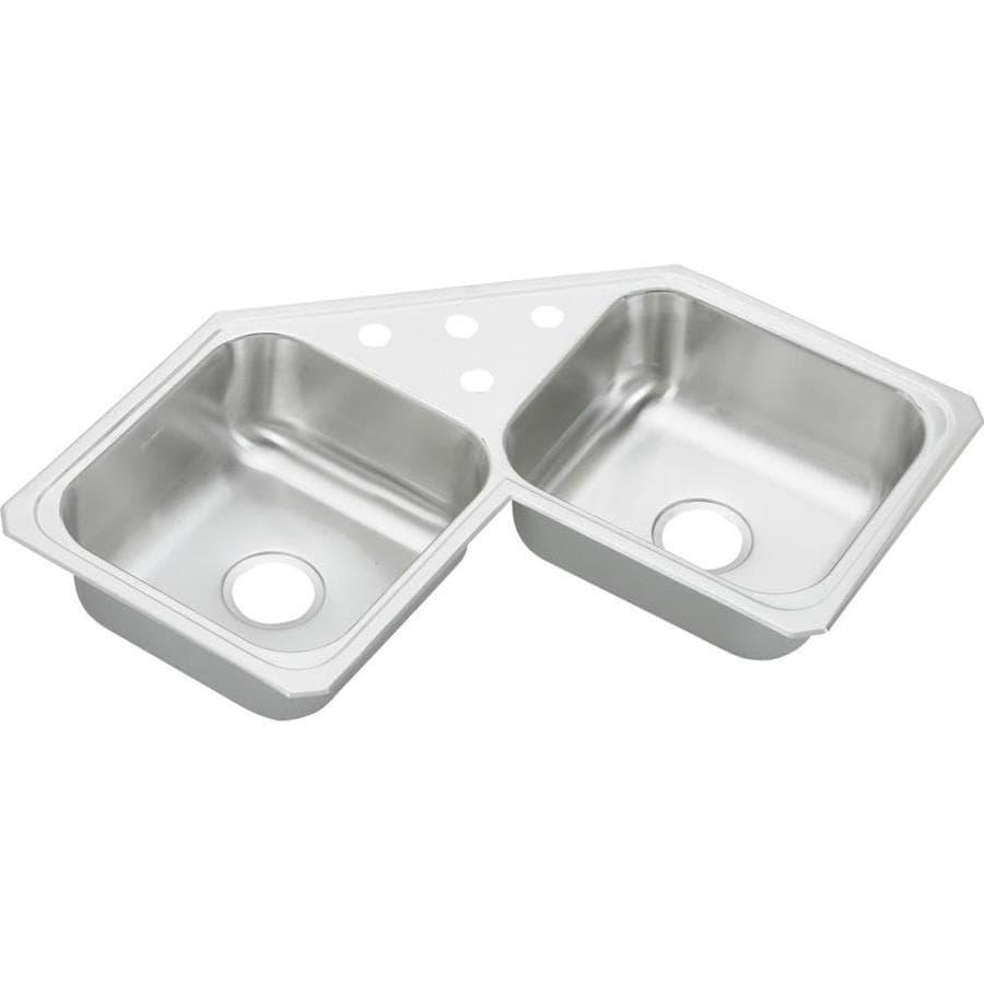 Elkay 31.88-in x 31.88-in Double-Basin Stainless Steel Drop-In Kitchen Sink