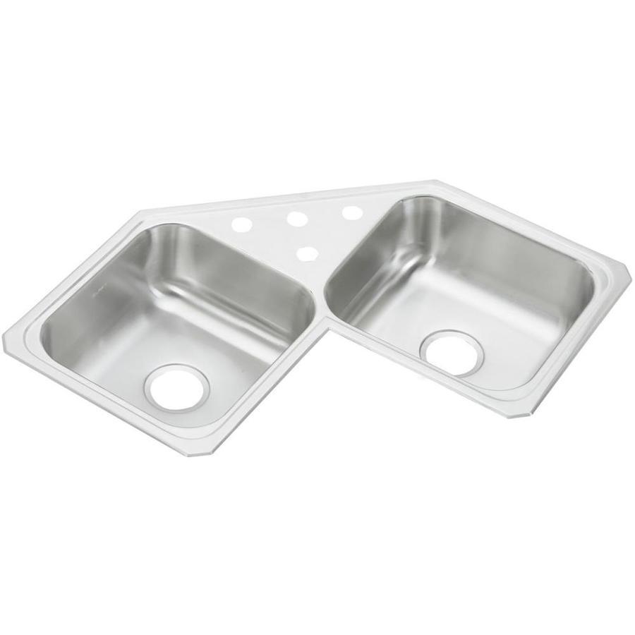 Elkay Celebrity 31.88-in x 31.88-in Double-Basin Stainless Steel Drop-In Kitchen Sink
