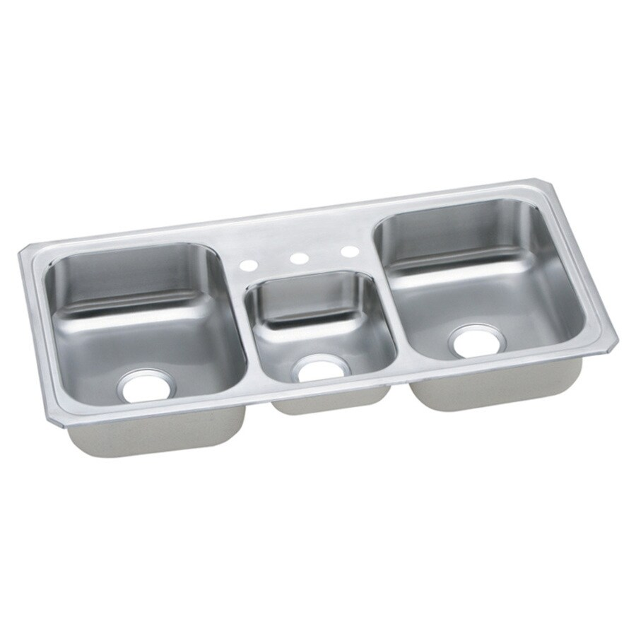 Elkay Gourmet 22-in x 43-in Bright Satin Triple-Basin Drop-in 3-Hole Residential Kitchen Sink Drainboard Included