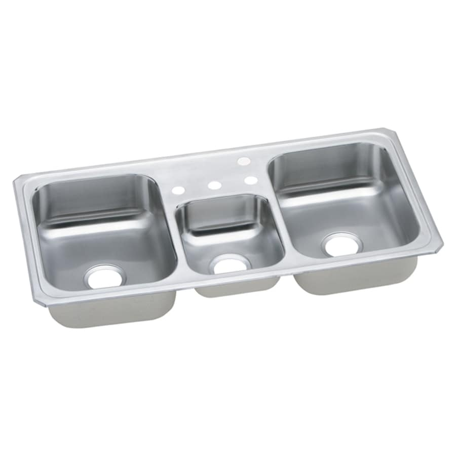 Elkay Gourmet 22-in x 43-in Bright Satin 3 Stainless Steel Drop-in 4-Hole Residential Kitchen Sink Drainboard Included
