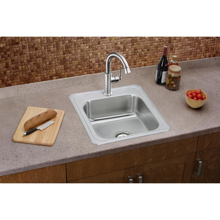 Elkay Gourmet 21.25-in x 17-in Brushed Satin Single-Basin Stainless Steel Drop-in 3-Hole Residential Kitchen Sink